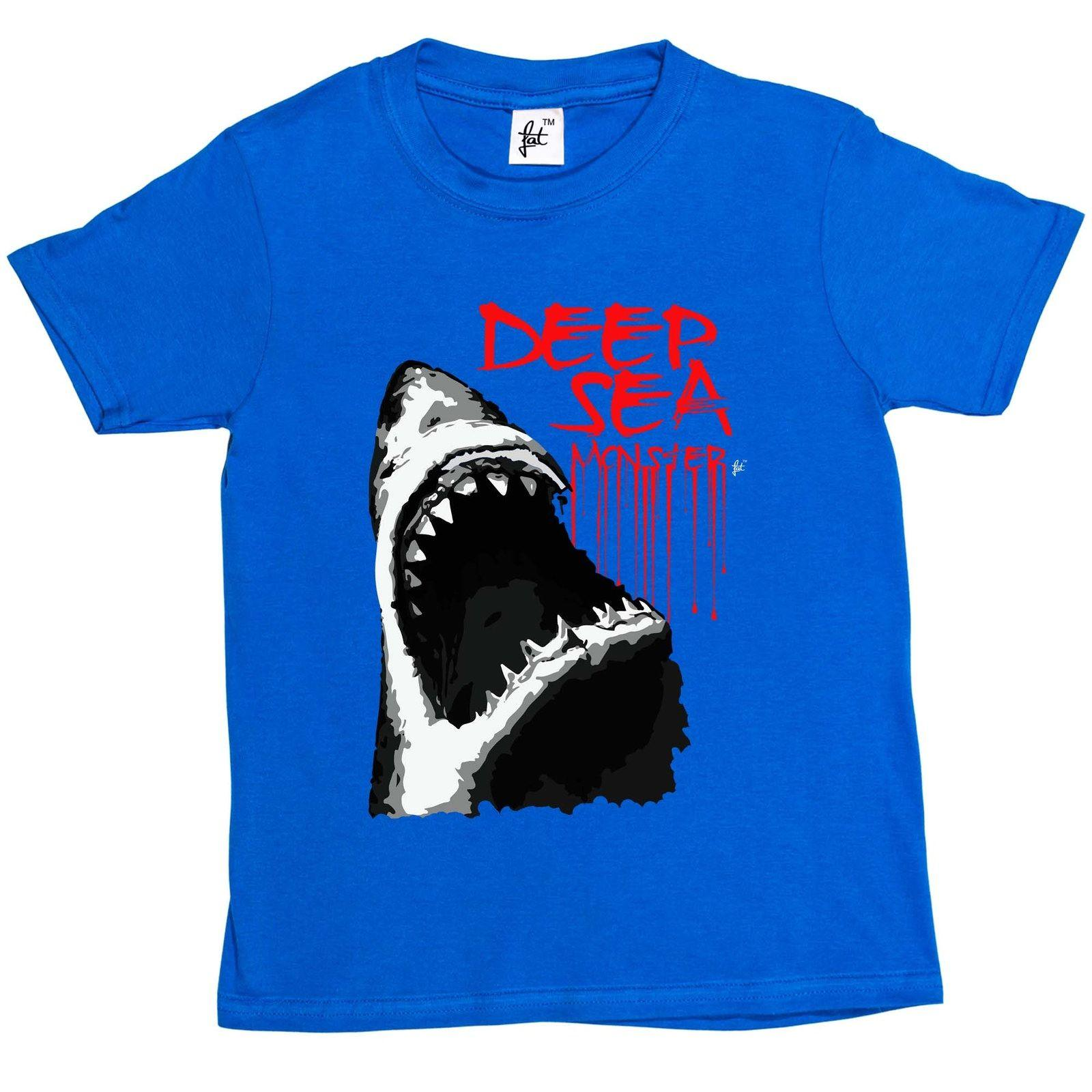 Deep Sea Monster Great White Shark With Big Teeth Kids Boys / Girls T-Shirt