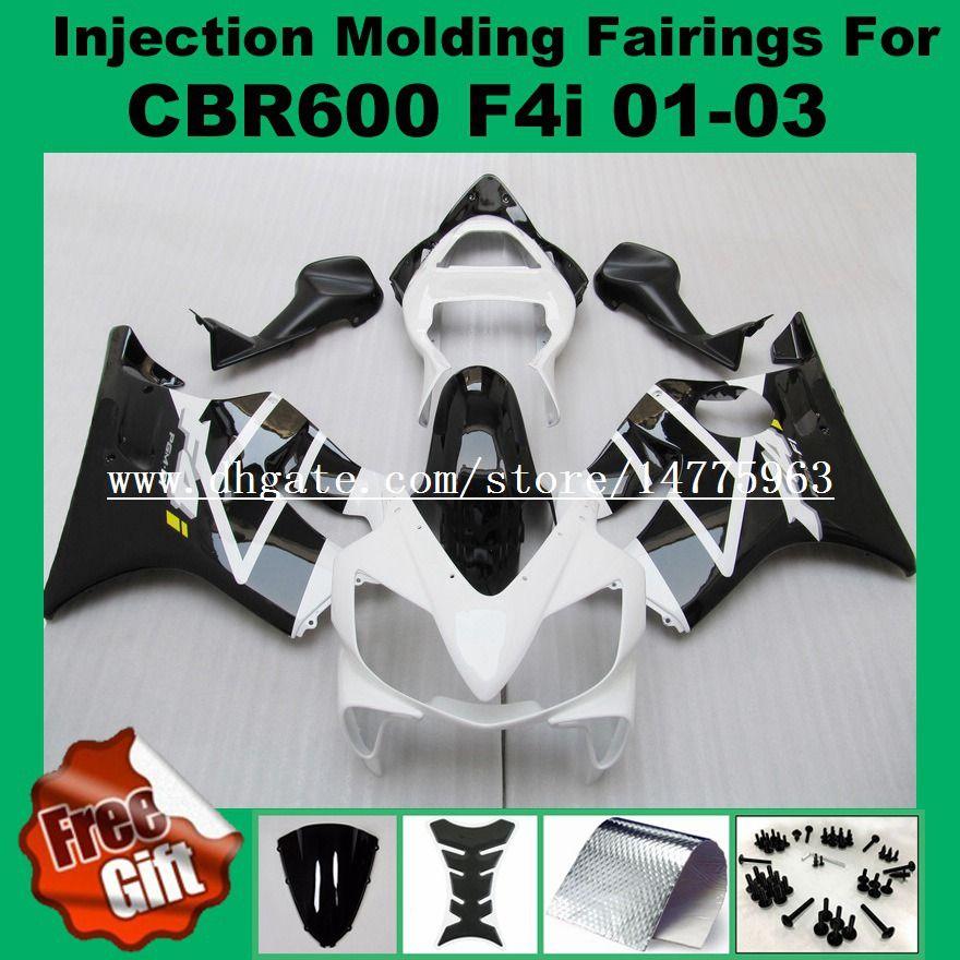 Carenados de inyección F4i para HONDA CBR600F4i CBR600RR 01 02 03 CBR 600 F4i CBR 600F4i 2001 2002 2003 # B001W Carenado kits Blanco negro