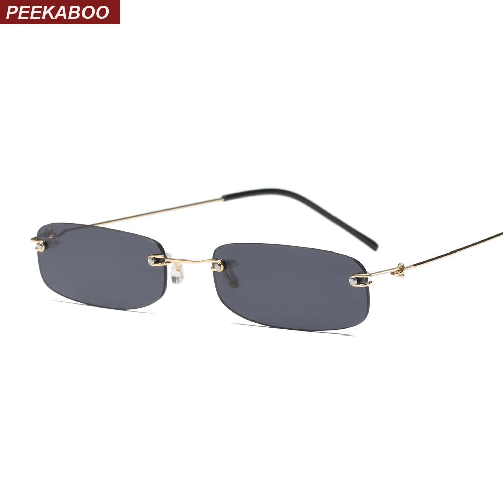 5d85e9867049b Compre Peekaboo Óculos De Sol Estreitos Homens Sem Aro Verão 2018 Vermelho  Azul Preto Retangular Óculos De Sol Para As Mulheres Pequeno Rosto Venda  Quente ...