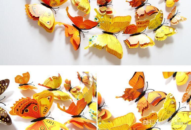 Aleatória Mix 3D Cor Borboleta Adesivos de Parede Decalques de Parede para Decoração de Casa ou Fontes do Partido do Dia Das Bruxas Tamanho Assorted