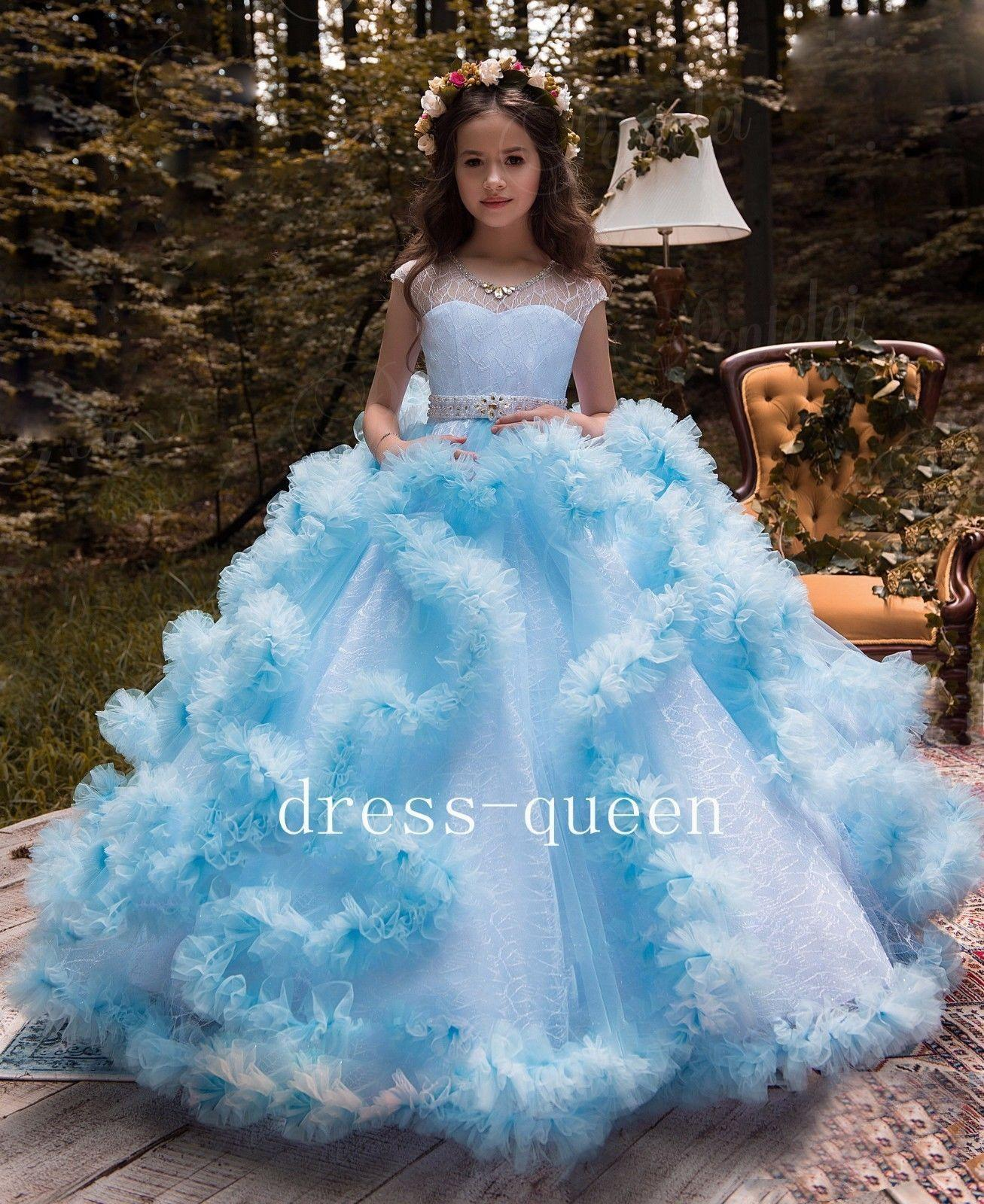 2558ce11b Pageant Kids Gown Ruffle Sky Blue Tulle Flower Girl Dresses For ...