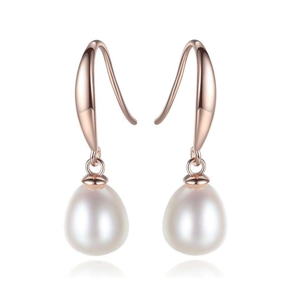 New Simple And Stylish Sterling Silver Pearl Water Drop Earrings For Women  Jewelry Anniversary Gift Send Free box