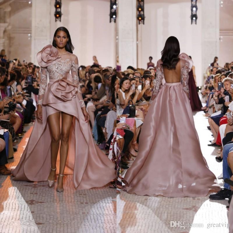 f1714125fe6 Acheter Elie Saab 2019 Robes De Soirée Dentelle Paillettes À Manches  Longues Fleurs Haut Bas Robes De Fête De Bal Plus Robes De Taille De Soirée  De  154.86 ...