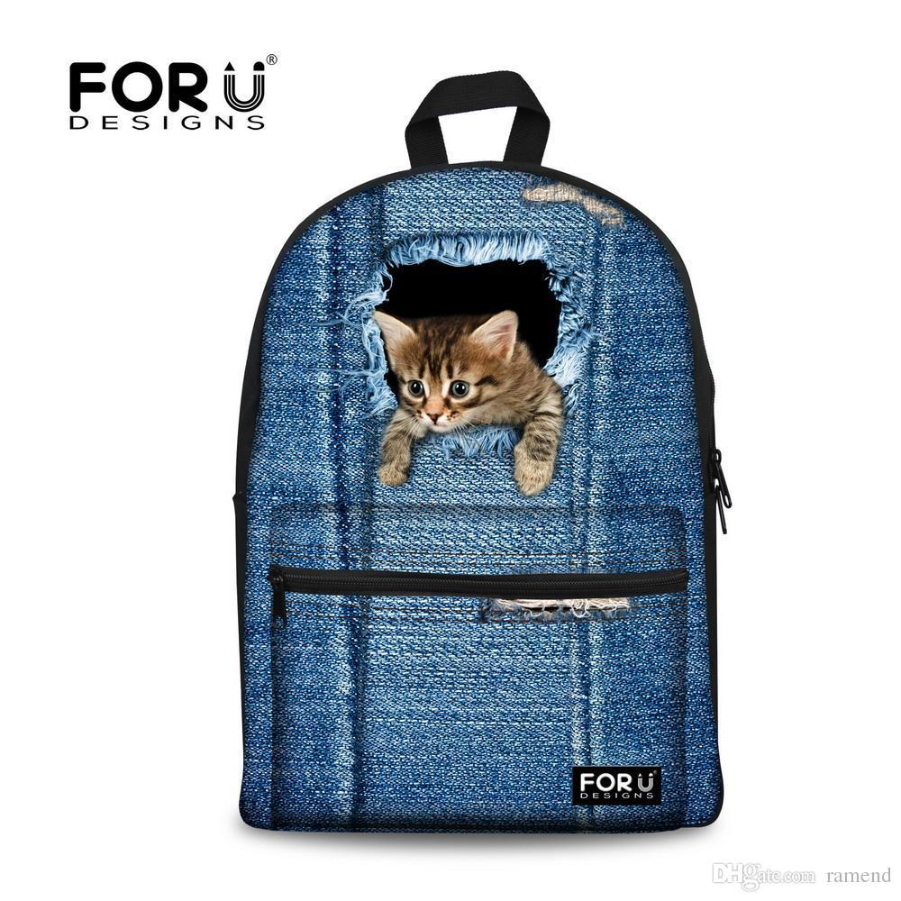 Wholesale New 2016 Kawaii Animal Cat Backpack For Girls Fashion