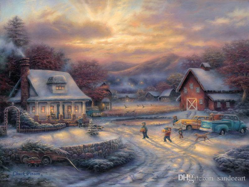 Online Cheap Thomas Kinkade Landscape Oil Painting Christmas Village ...