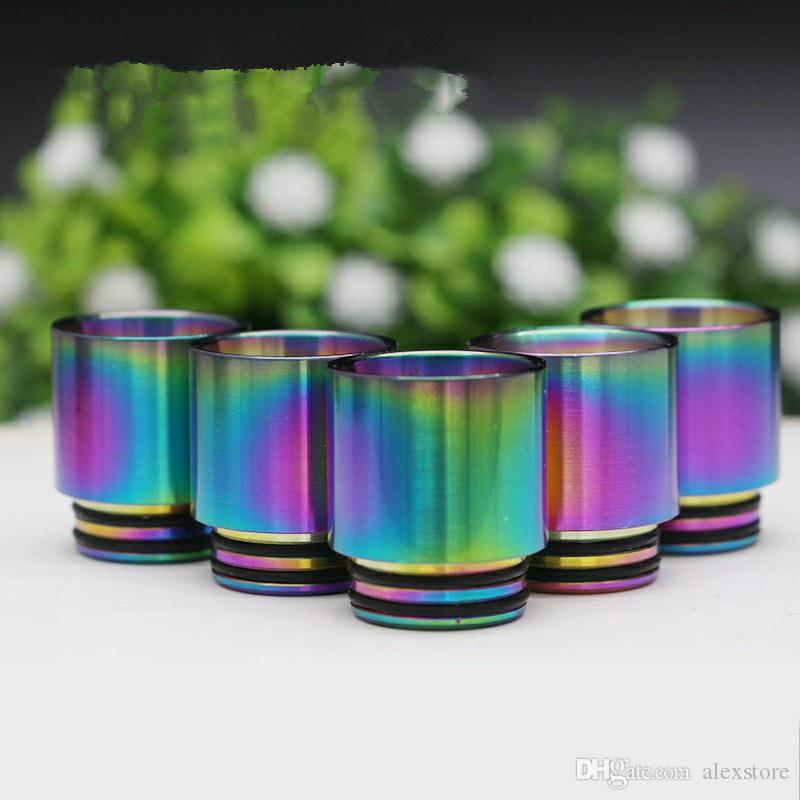 810 Drip Tips Rainbow Color Stainless Steel SS Drip Tip for 810 Thread Wide Bore Mouthpiece TFV8 Prince Tank Atomizer Bulb Glass