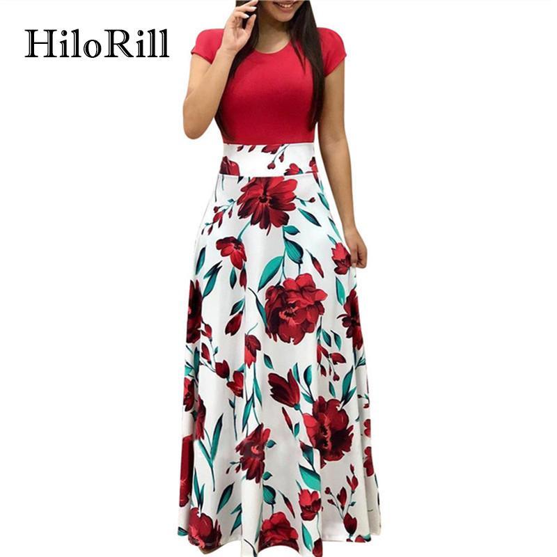 2c6c81d3ddc97 HiloRill 2018 Summer Dress Women Casual Short Sleeve Floral Maxi Dress  Elegant A Line Party Long Tunic Sundress Vestidos