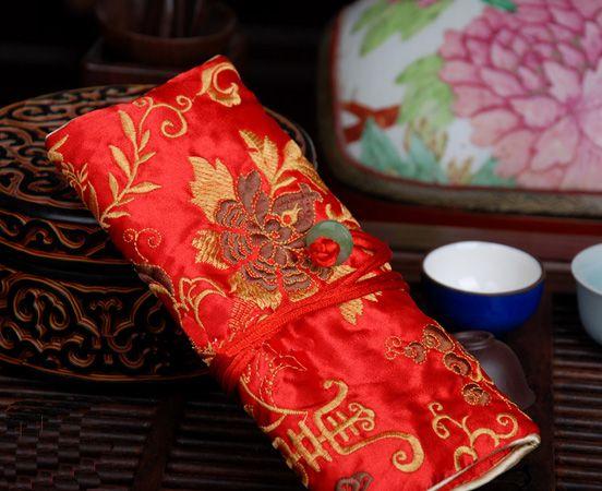 좋은 자 수 꽃 실크 보석 롤 가방 접는 휴대용 대형 여성 화장품 저장 가방 Drawstrubg 메이크업 여행 가방 /