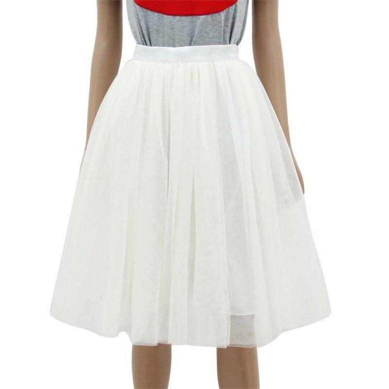 7a39193c6 2019 New Puff Women Chiffon Tulle Skirt White Faldas High Waist Midi Knee  Length Chiffon Plus Size Grunge Jupe Female Skirts Nz17 From Linyoutu2, ...