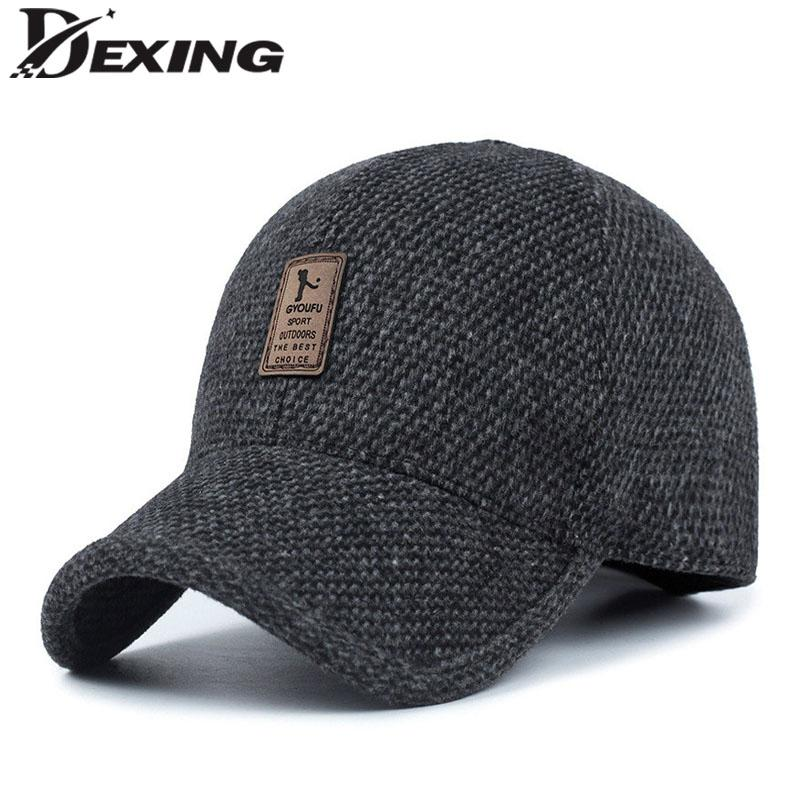 29895696660 Lether Logo Warm Winter Spring Thickened Baseball Cap With Ears Men S  Cotton Hat Snapback Hats Ear Flaps For Men Hat Black Baseball Cap Army Cap  From ...