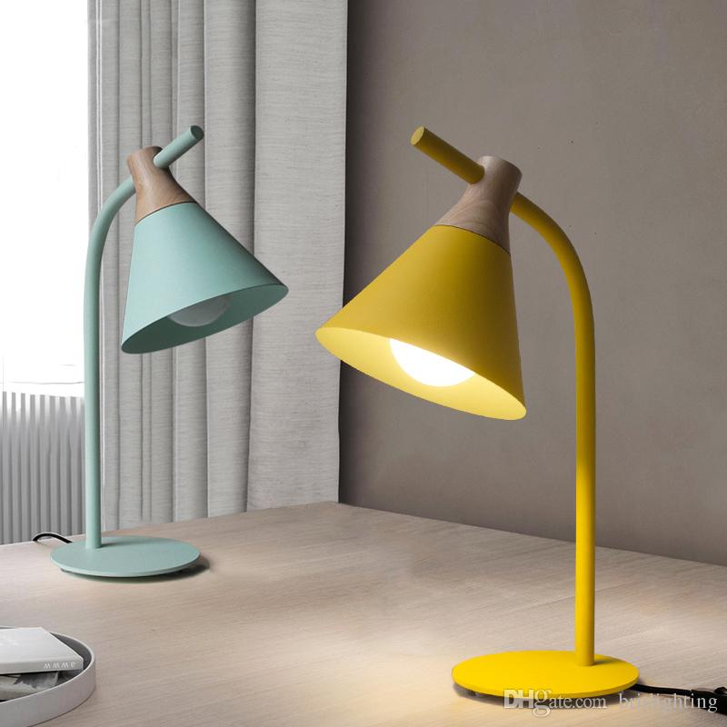 2019 Simple Study Modern Led Table Lamp Yellow Green Desk Light Led