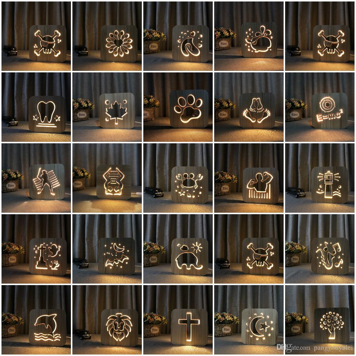 lion LED 3D veilleuse Lampe Veilleuse En Bois USB Alimentation Maison Chambre Table Bureau Décoration Lampe En Bois 3D Sculpture Motif LED Veilleuse