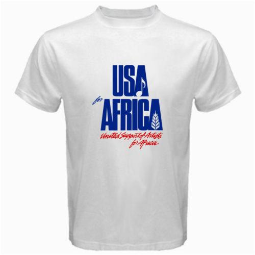 569c7d7f We Are The World Anniversary USA For Africa United Artists White T Shirt  100% Cotton Classic Fashion Style Men Tee Newest Top Tees Designer Tee Best T  Shirt ...