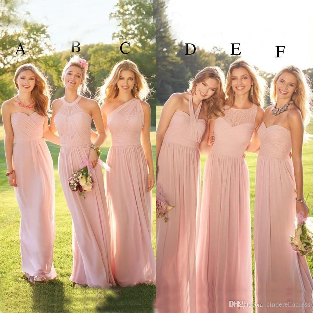 12c3b643439 2019 Pearl Pink Cheap Long Lace Chiffon Bridesmaid Dresses Mixed Style  Blush Country Formal Prom Party Dress Ruffles Custom Made BM0172 Beaded  Bridesmaid ...