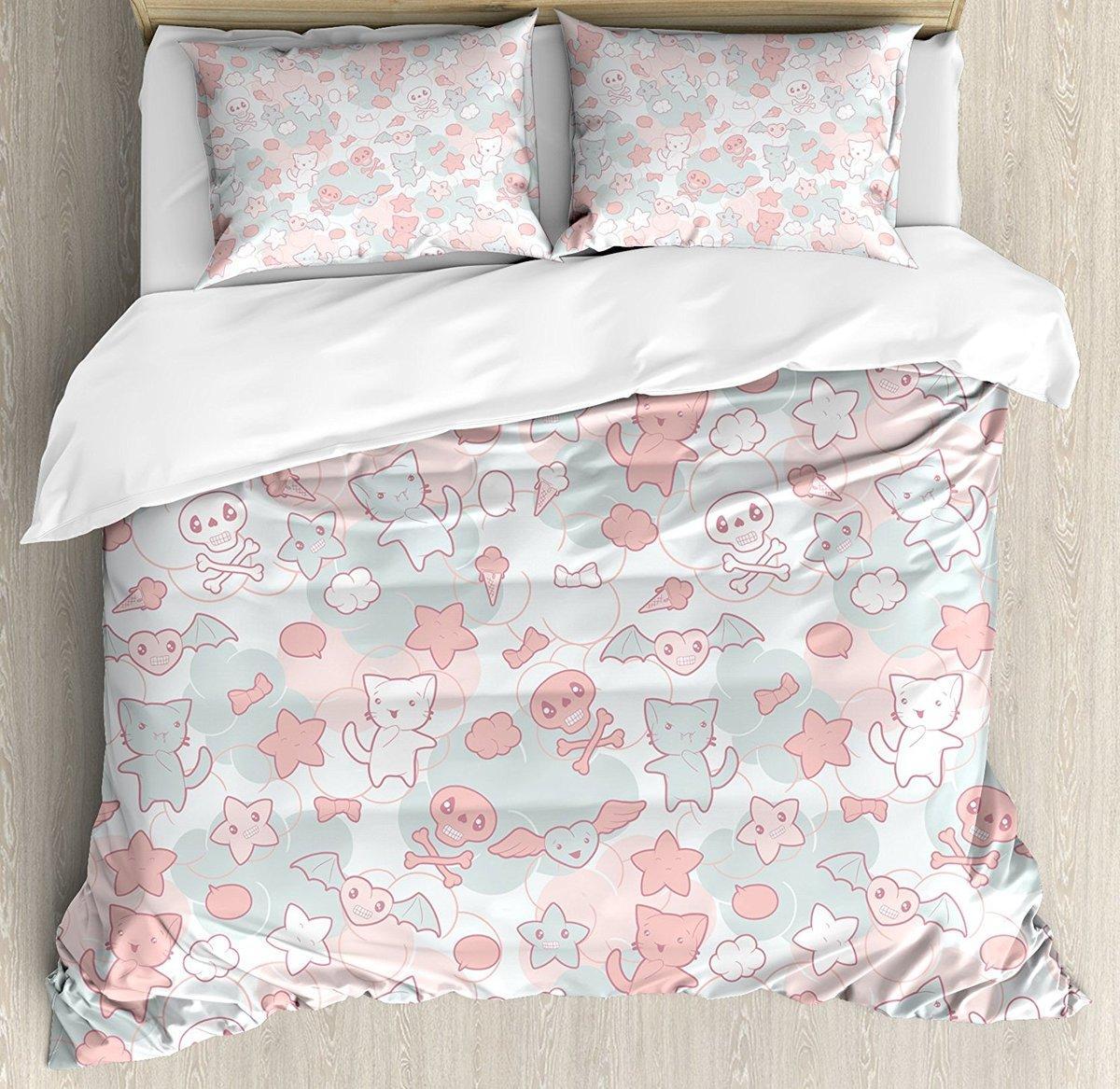 Doodle Duvet Cover Set Cartoon Styled Cute Cats Bats And Skulls Japanese  Inspired Kawaii Design Decorative Bedding Set Grey Bedding Boys Bedding  From Yong8 68d5404cd