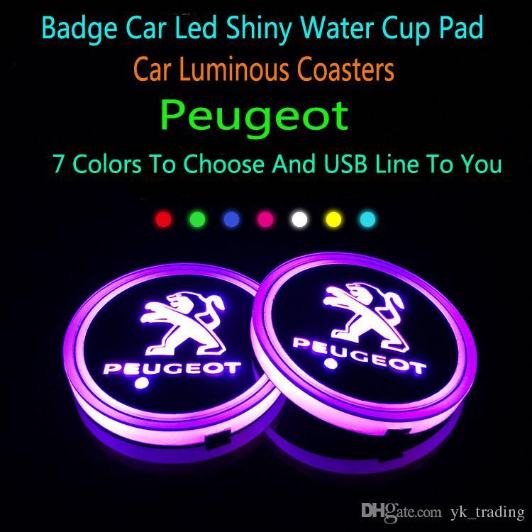 Peugeot marchio distintivo luce 308 408 5008 2008 3008 4008 automobile ha condotto lucido tazza dell'acqua Mat luminoso Coaster Atmosfera Luce