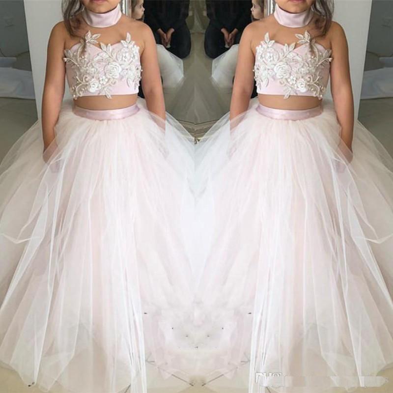 a4dc0e2d3059 Light Pink Cute Two Pieces Flower Girls DressesFor Wedding Tulle ...