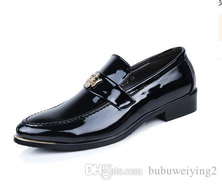 [Extra men's business dress shoes leather lace wedding leather shoes a bright paint male head light leather x7