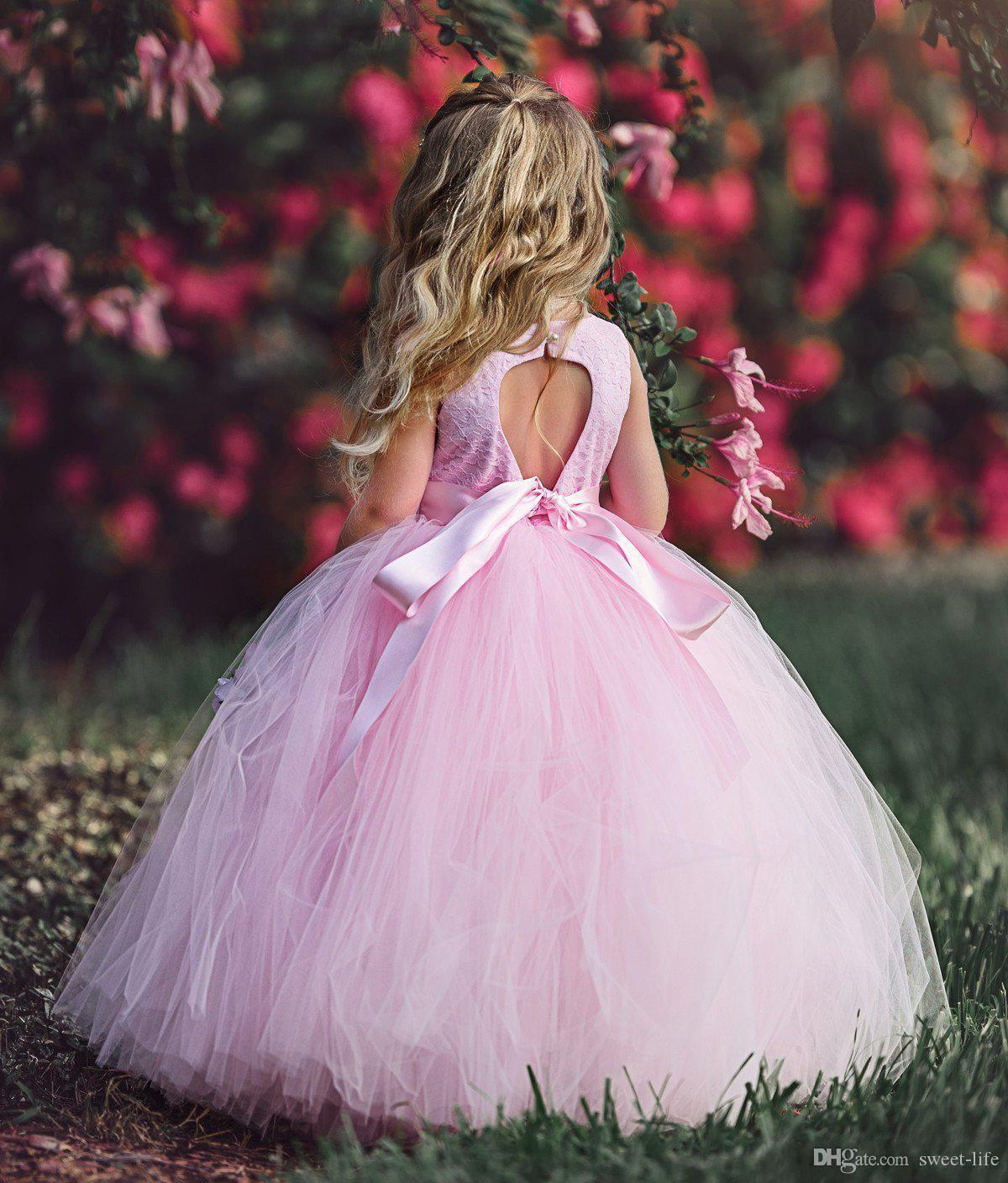 2018 Ball Gown Pink Flower Girls Dresses For Weddings Sleeveless Lace Top Tulle Pageant Dresses For Teen Tutu Toddler First Communion Dress