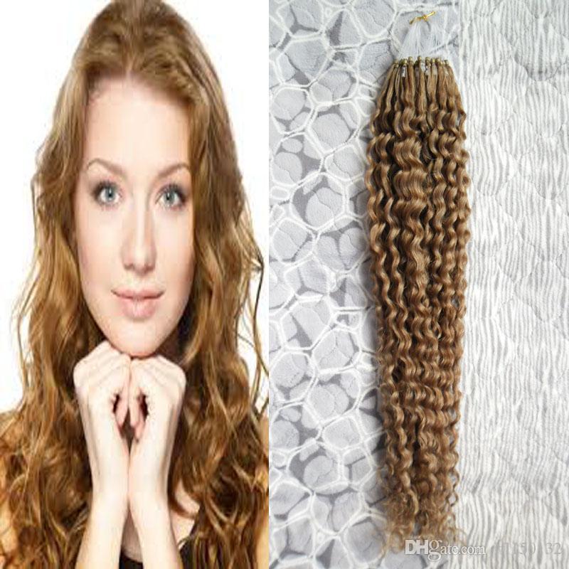 Kinky Curly Micro Loop Human Hair Extensions 100g Micro Link Hair