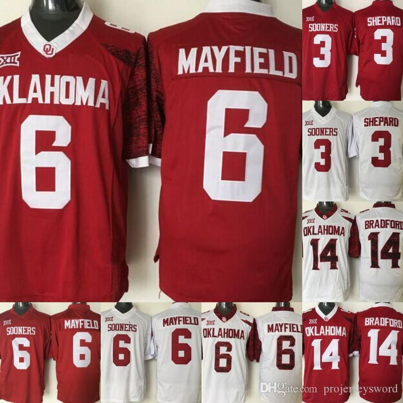05787d538f2 2019 Mens Oklahoma Sooners 1 Kyler Murray 6 Baker Mayfield 5 Durron Neal 14  Sam Bradford 32 Samaje Perine 28 Adrian Peterson College Jerseys From ...