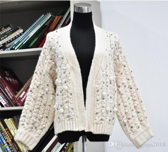 e5d2ea3127e7 Viskose Wolle Frauen weiße gestrickte Tops Langarm-Pullover Handgemachte  Perlen Pullover weibliche Mohair Twisted Pullover Strickjacke Jacke Pearl  ...