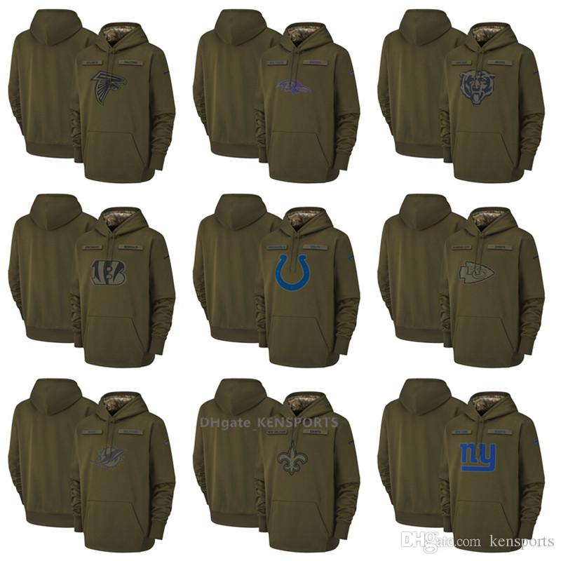 best website 9240b 6a9f0 Men Atlanta Falcons Chicago Bears Indianapolis Colts New Orleans Saints  Salute to Service Sideline Therma Performance Pullover Hoodie