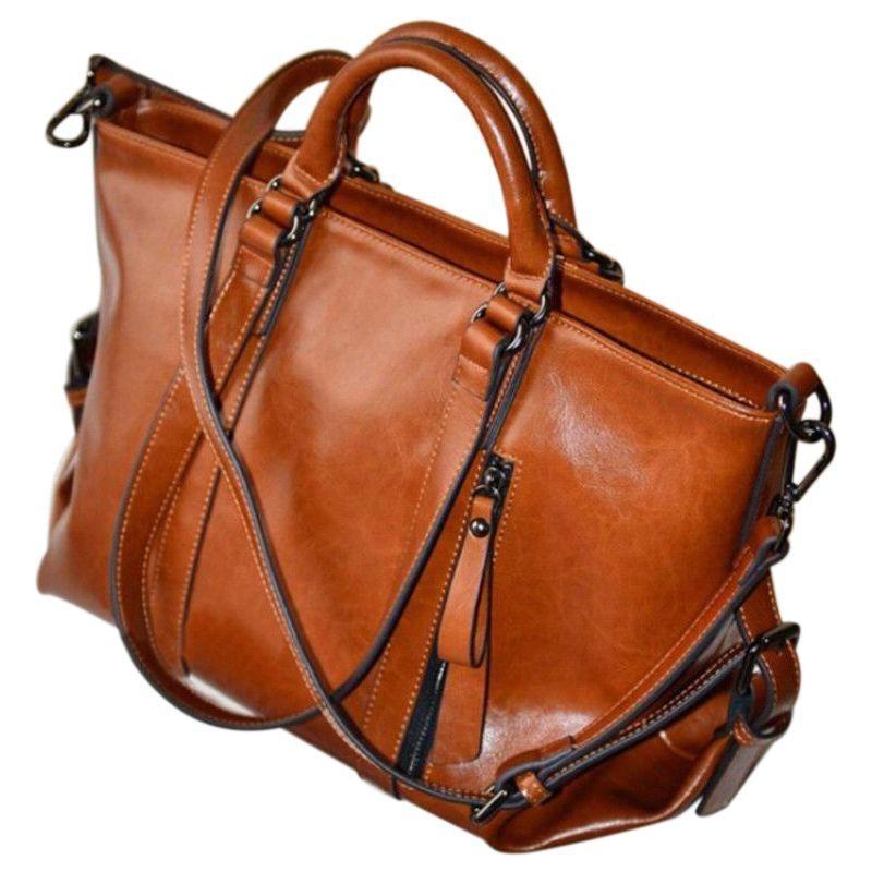 283b759a89 FGGS Women Oiled Leather Tote Handbag Purse Lady Messenger Shoulder Bag  Satchel Handbag Brands Cheap Bags From Fairness01