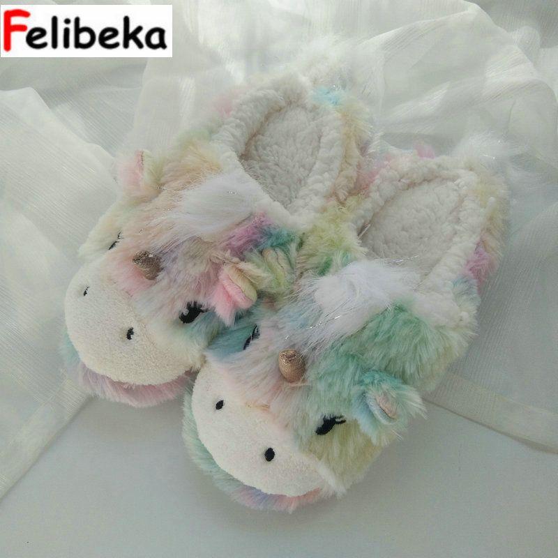 Felibeka Winter Super Cute Rainbow Unicorn Nest Shoes Floor