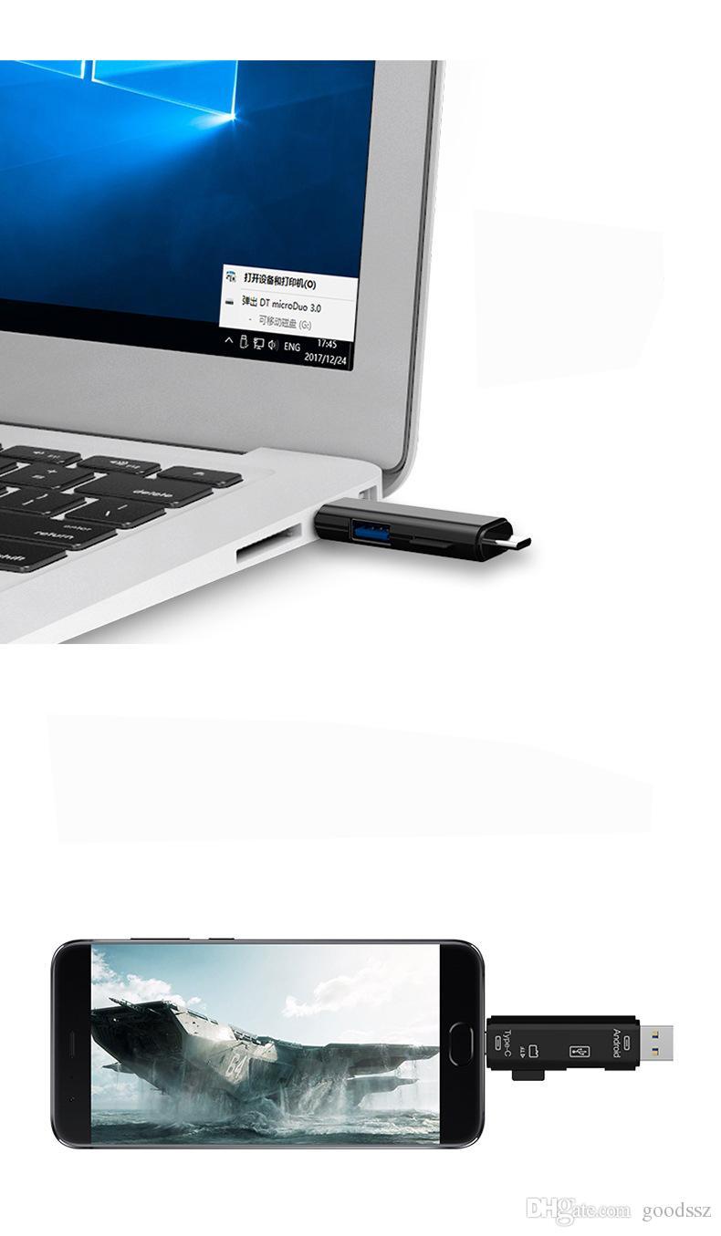 3 1 USB 3.1 유형 - C USB 마이크로 USB TF 마이크로 SD SDXC OTG 카드 리더 맥북 안 드 로이드 전화 태블릿에 대 한