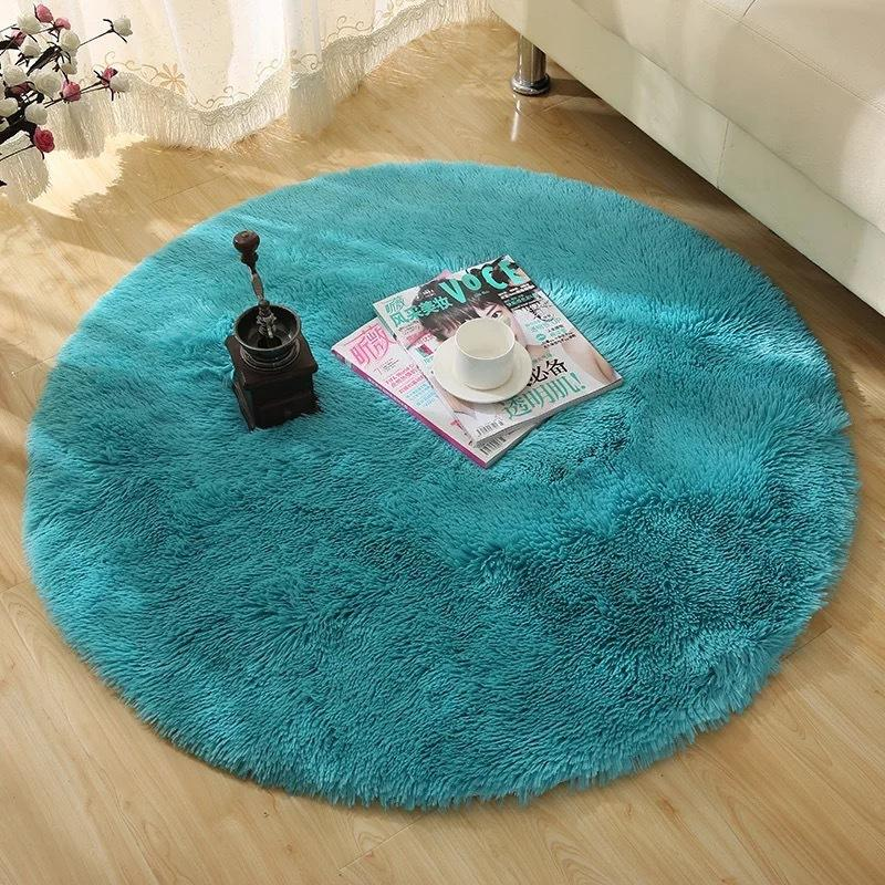 Solid Color Faux Fur White Plush Fluffy Round Carpet For Living Room
