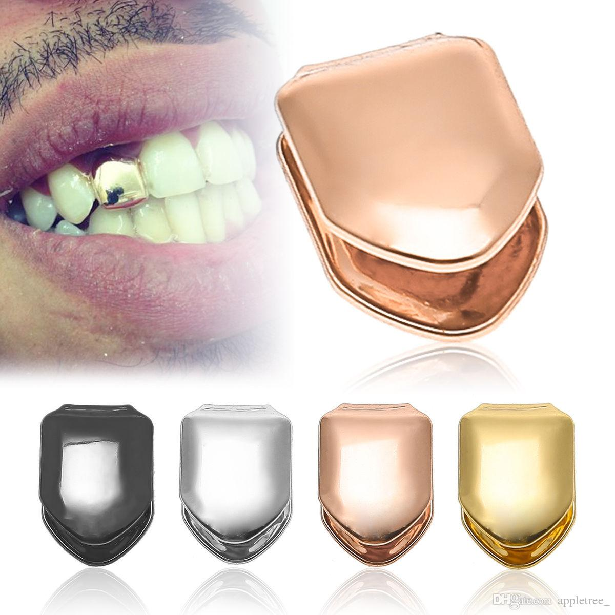 2018 Gold Silver Color Teeth Grillz Hiphop Teeth Grill Top   Bottom ... d9ae36bb985c