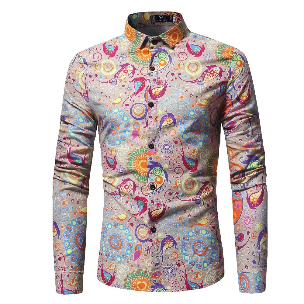 e2c4bfcb4d18 2108 New Arrival Fashion Flower mens long sleeve shirt Printed mens Floral  shirts Casual tops for men clothing vintege part 2.