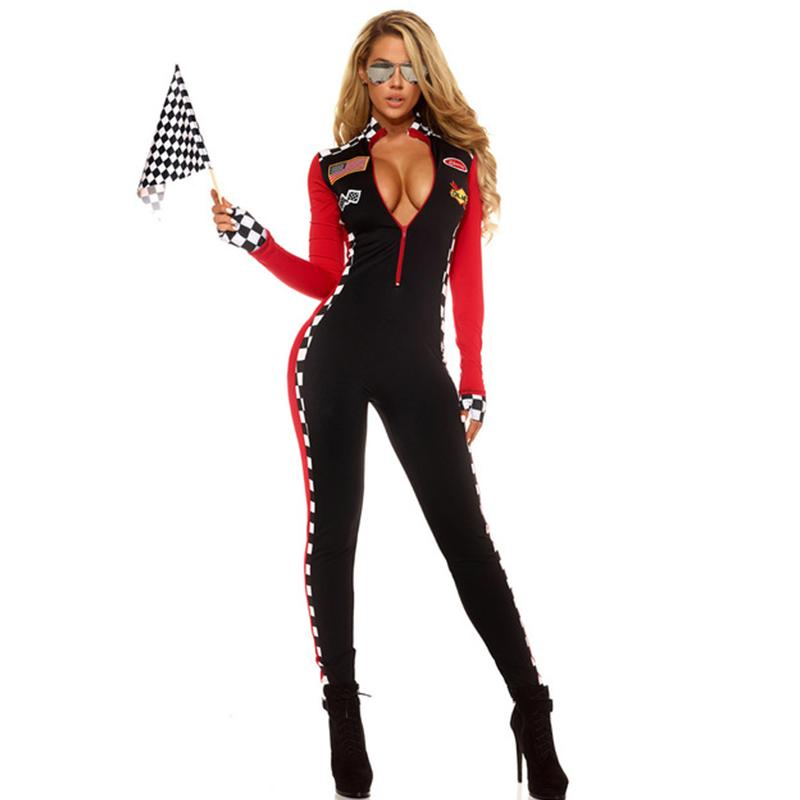 Costumi Halloween Adulti.Costume Da Halloween Per Adulti Costume Da Donna Top Speed Hottie Roleplay Costumi Sexy Catsuit Da Corsa Con Maniche Lunghe In Elastan
