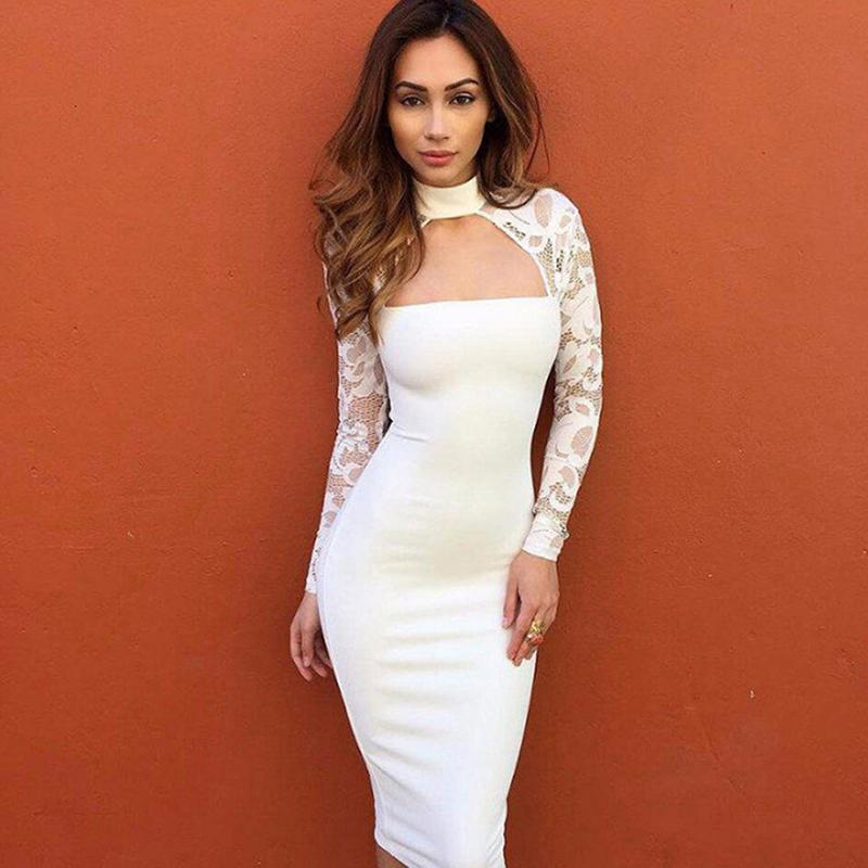 Fashion Women S Sexy V Neck Bodycon Dress Ladies Club Party Long Sleeve  Lace Midi Dress Vetement Femme Summer Spliced Dresses Summer White Maxi  Dress ... 69d649de3