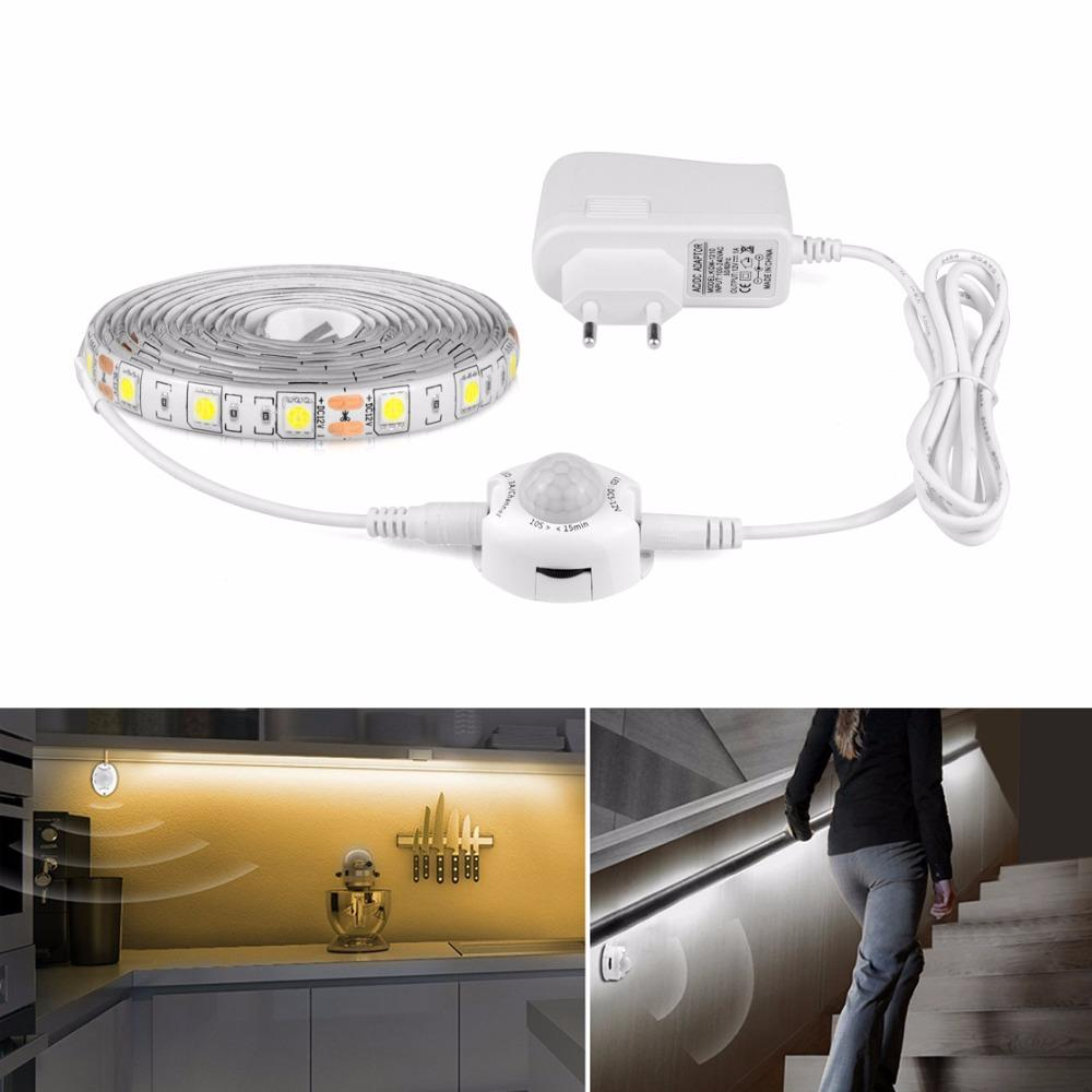 SMD 5050 DC 12V PIR Motion sensor LED strip light 1M 2M 3M 4M 5M + 110V 220V 2A power supply adapter tape ribbon EU / US Plug