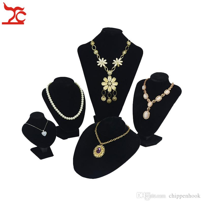 Professional Velvet Jewelry Display Mannequin Rack 5 Sizes Black Necklace Pendant Bracelet Chain Organizer Storage Exhibition Bust Stand