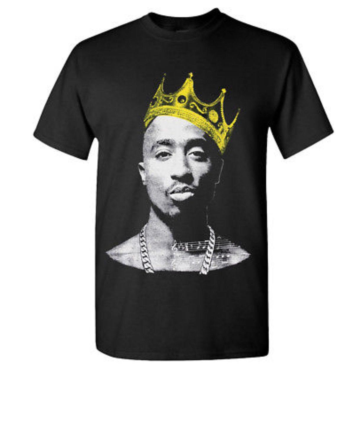 9c48f5f765 KING 2PAC Black T-Shirt Hip Hop Rapper PAC New Tee Tupac Shakur Men's T  Crown