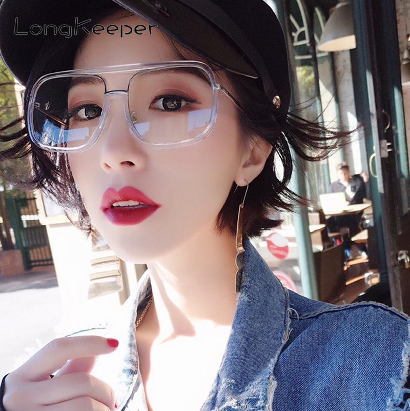 0f7fe72123 LongKeeper Oversized Clear Lens Glasses Women Black White Leopard ...