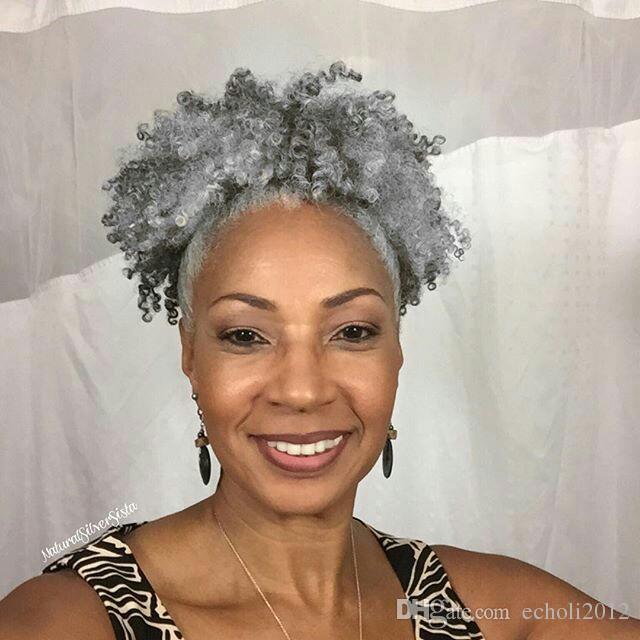 100% pelo real pelo gris cola de caballo afro rizado rizado clip en gris cordón humano cola de caballo extensión del pelo para mujeres negras 100g 120g