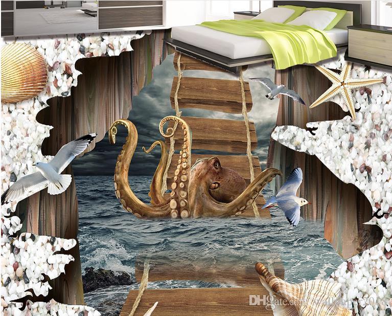 Wallpaper for bathrooms stormy octopus wooden bridge 3d floor tiles