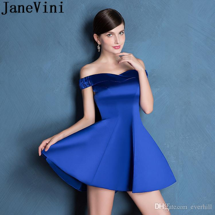 JaneVini Royal Blue Off Shoulder Homecoming Dress Short Mini Satin A Line  Ladies Prom Dresses Juniors Formal Party Wear Cocktail Gowns 2018 Cute Short  ... 8b9207b76