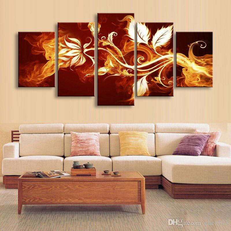 high-definition print fire flowers canvas oil painting poster and wall art living room picture PF5-010