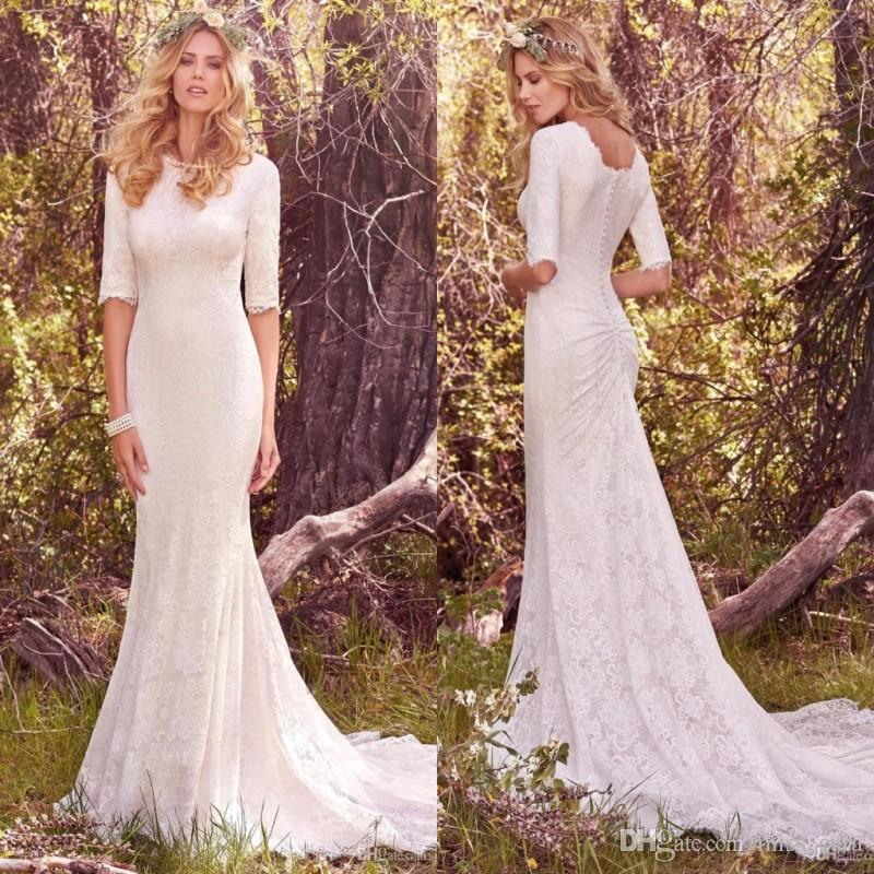 2018 Vintage Country Wedding Dresses With Half Long Sleeves Bohemian ...