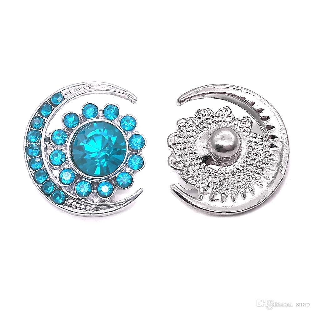 High quality flowers 093 18mm 20mm rhinestone metal button for snap button Bracelet Necklace Jewelry For Women Silver jewelry