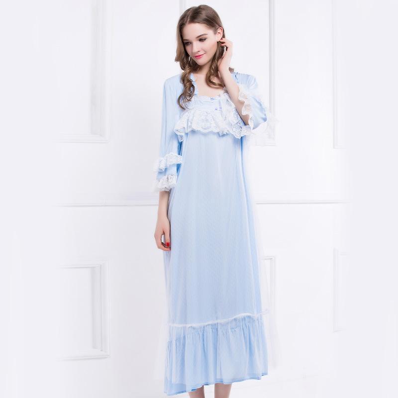 Acheter Chemises De Nuit Mode Femme Vintage Sleeping Dress Pour Femmes  Dentelle Demi Manches Chemises De Nuit Peignoir Vêtements De Nuit Blanc  Vêtements