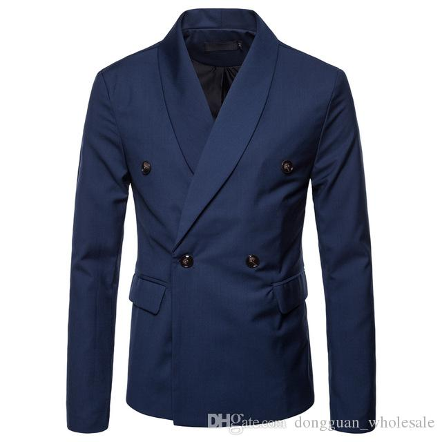 Blazer Men Spring Autumn 2018 New Suit of Pure Color Casual Double-breasted Men's Suit Large Size Coat Blazer Masculino