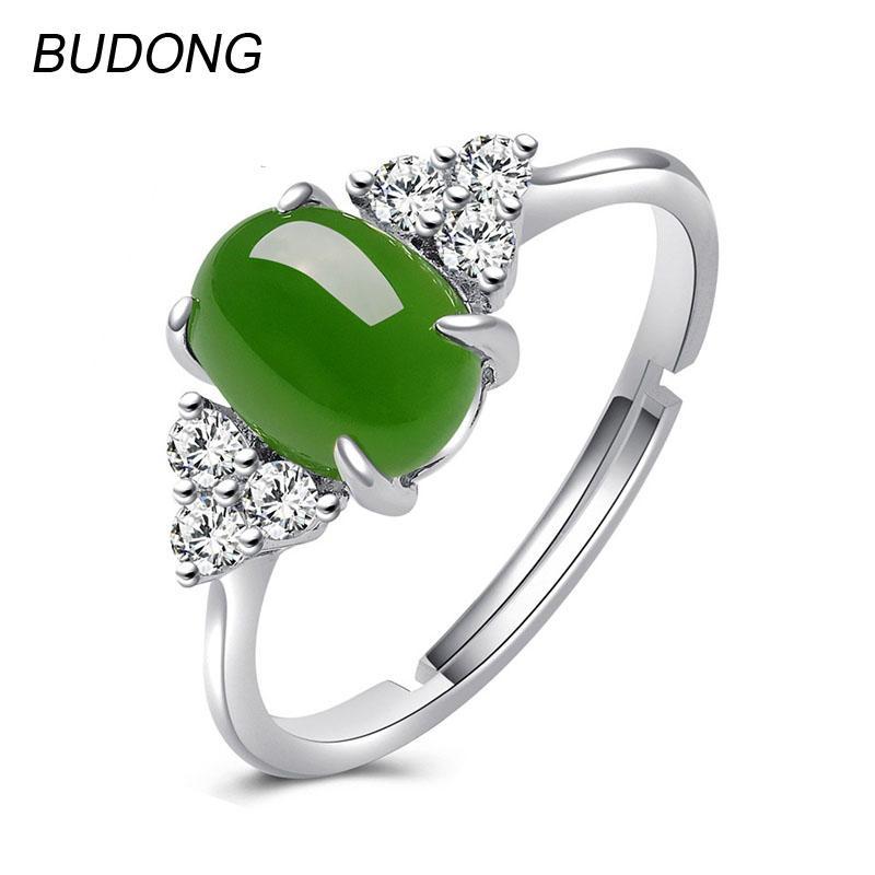 2019 Budong Adjustable Oval Natural Nephrite Jade Jasper Band Fine