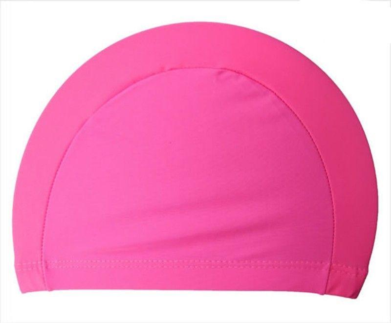 Wholesale Hot Sale Elastic Waterproof PU Fabric Protect Ears Long Hair Sports Swim Pool Hat Swimming Cap For Men & Women Adults