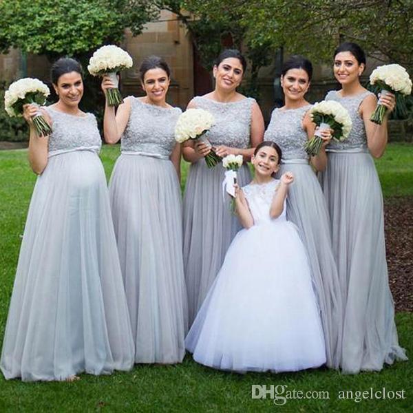 Plus Size Vestidos de Dama de Honra 2018 Apliques de Renda Bateau Frisado Praia País Empregada de Honra Vestido Convidado Do Casamento Vestidos de Festa Longo Barato